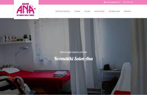 Izrada web stranice za kozmetički Salon Ana